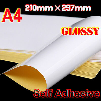 100x A4 Gloss Paper Self Adhesive Glossy Sticker Label for Laser Inkjet printer