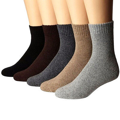 5 Pairs Fashion Men's Wool Cashmere Winter Thick Warm Solid Casual Sports Socks