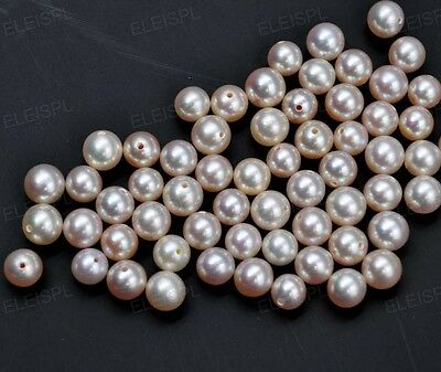 wholesale loose half drilled 5-6mm round freshwater cultured pearl jewelry