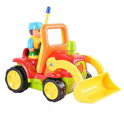 Cartoon RC Construction Truck 2CH Radio Control Toy for Toddlers Red