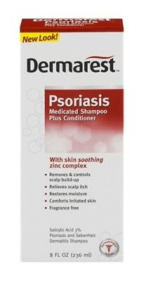 New Dermarest Psoriasis Medicated Shampoo Plus Conditioner - 8 Ounce Pack of 3