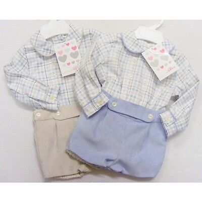 Baby Boys Spanish Outfit Checked Shirt Velvet Touch Shorts Blue / Beige