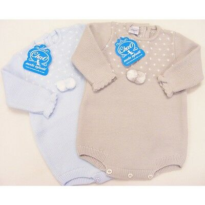Baby Boys Spanish Knitted Pom Pom Romper Long Sleeves By Cha-o 0-3 Months (3m)