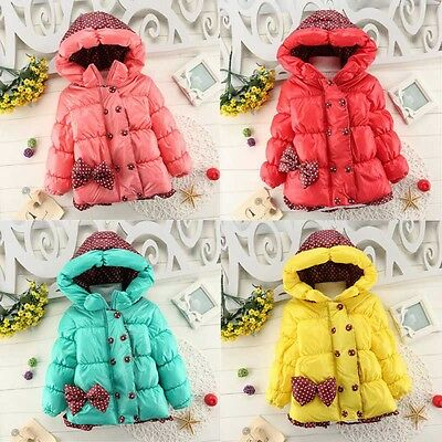 Winter Toddler Baby Girls Bowknot Kid Hooded Coat Parkas Jacket Outwear 1-4T New