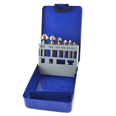 6pc HSS Countersink Countersunk Deburring Drills Tapered For Metal Wood