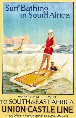 Vintage Surf Bathing in South Africa Union Castle Travel Poster Art Reprint A4