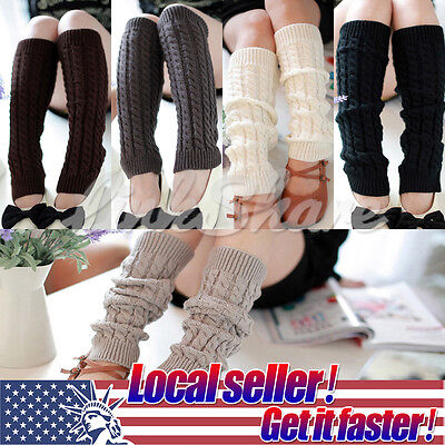 US NEW Women Ladies Winter Leg Warmers Crochet Knit Boot Socks Toppers Cuffs