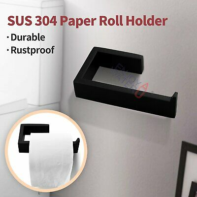 Toilet Paper Roll Holder Square Wall Mounted Black Stainless Steel 304 Bathroom