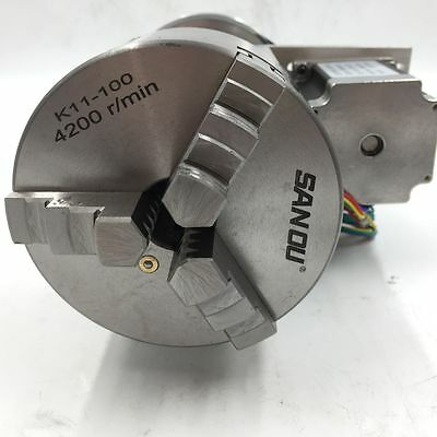 CNC Rotary Table Axis 4th Axis 3 Jaw Chuck 100mm Router Rotational Hollow Shaft