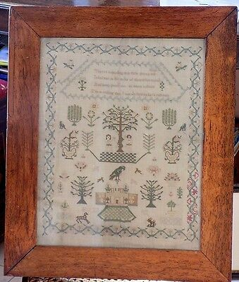 Antique Sampler Georgian? Early Victorian? Adam and Eve Framed Embroidery Fabric