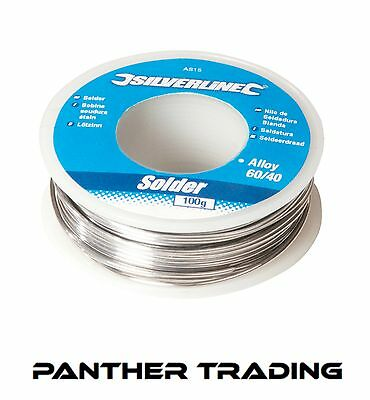Silverline 100g Reel Flux-Covered Electrical Solder, 60:40 Tin/Lead  - AS15