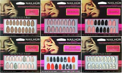 Nailhur Stiletto Designs #1 - Almond Press On Resusable Nail Tips Kit with Glue