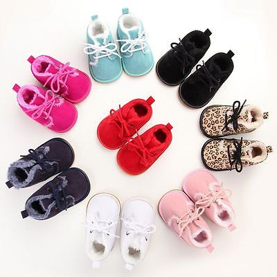 Baby Boy Girl Winter Warm Cute Boots Toddler Kids Soft Crib Shoes Sneakers 0-18M