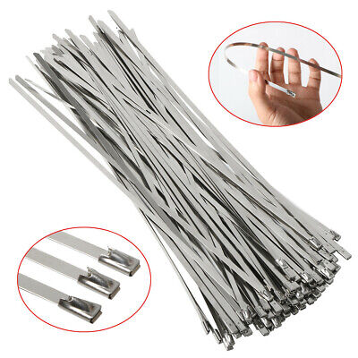 100 x Stainless Steel Metal Cable Ties 300mm x 4.6mm Heat Wrap Exhaust Zip Tie