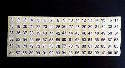 1-102 Number Labels Stickers Numeric Self-Adhesive Black Number round dot