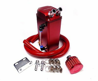 Universal Red Oil Catch Tank Breather Can With Filter Impreza Wrx Sti Turbo