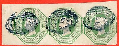 SG. 55. H1 (2). 1/- green. Die 1. A very fine used horizontal strip of 3.
