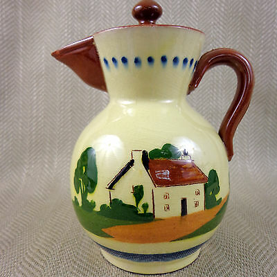 Vintage Pottery Jug Pitcher Coffee Pot  Devon Torquay Motto Ware Hand Painted