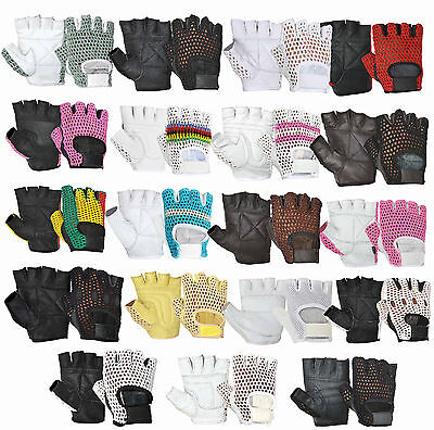 Half Finger Real Leather Weight Lifting Gym Fitness Bus Driving Gloves Retro