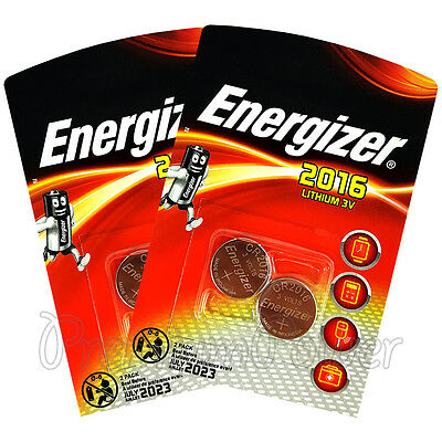 4 x Energizer Lithium CR2016 batteries 3V Coin cell DL2016 EXP:2023 Pack of 2