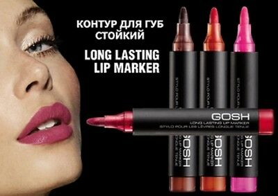GOSH LONG LASTING LIP MARKER PEN STAIN Pick 004 CHOCOLATE, 002 PINK or 001 RED