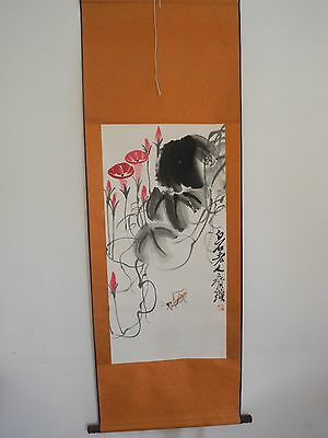 Excellent old Chinese Scroll Painting By Qi Baishi: lotus flower V32