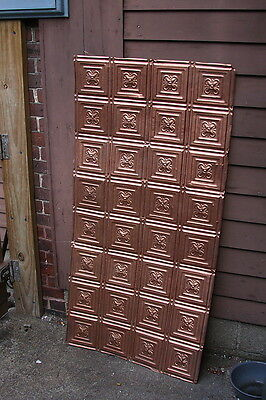 "Antique Ceiling Tin Sheet Embossed Squares w 4 Petal Flower 32 Flowers 48"" x 25"""
