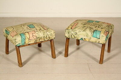 Two Stools Springs Padding Skai Leatherette Upholstery Vintage Italy 1950s