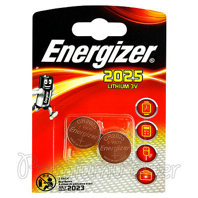 2 x Energizer Lithium CR2025 batteries 3V Coin cell DL2025 EXP:2023 Pack of 2