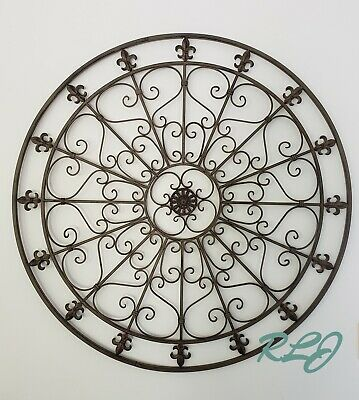 Large Vintage French Country Scrolling Circular Wrought Iron Wall Grille Decor