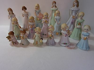 Collectible Lot16 Vintage Enesco Growing Up Birthday Girls 1-16 Adorable