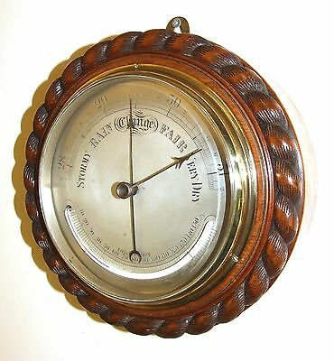 Antique Carved Walnut Barometer & Thermometer ENGLISH MAKE : Silvered Dial (b42)