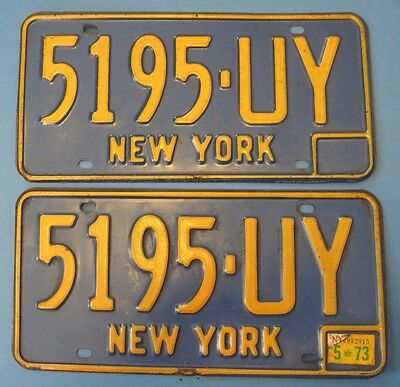 1973 New York license plates matched pair blue style 1966-1973