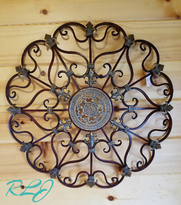 Vintage French Country Circular Scroll Wrought Iron Wall Grille Art Rustic Decor