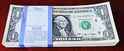 FULL BUNDLE $1-Sequentially numbered *100 X 1 DOLLAR BILLS  USA NOTE CURRENCY.