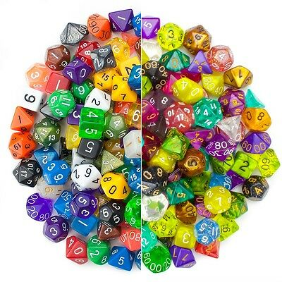 Lot of 3 Random 7pc Polyhedral Dice Sets by Wiz Dice RPG DND D20 With Dice Dag