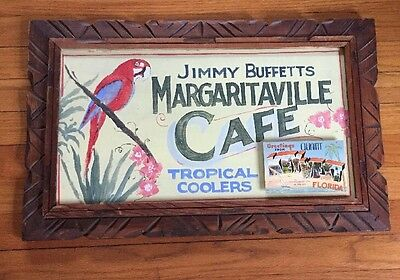 Jimmy Buffett-Wood Sign-Margaritaville Cafe-Key West Postcard