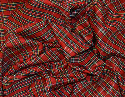 """Royal Stewart Red Tartan Poly Viscose Fabric Material 58"""" Width By The Metre"""