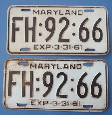 1961 Maryland License Plates Matched Pair