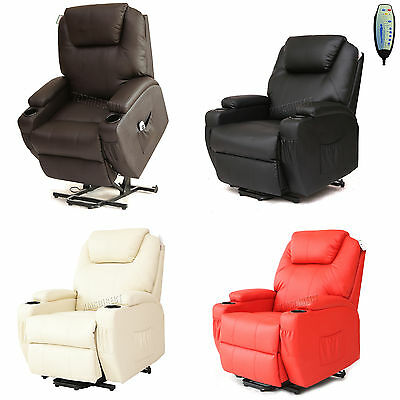 FoxHunter Leather Massage Riser Recliner Sofa Lift Mobility ArmChair Heat MLS-09