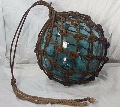 Vintage Antique Authentic Japanese Glass Fishing Floats Buoy Ball Roped Large