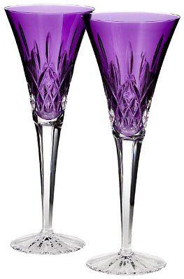Waterford Toasting Flutes, Set of 2 Lismore Amethyst
