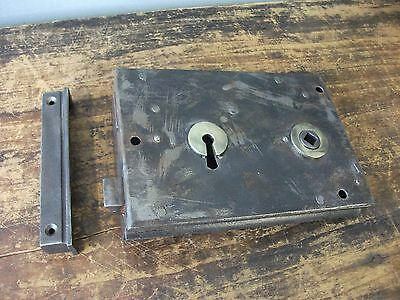Large Old Reclaimed iron and Brass Left-Handed Rim Door Lock