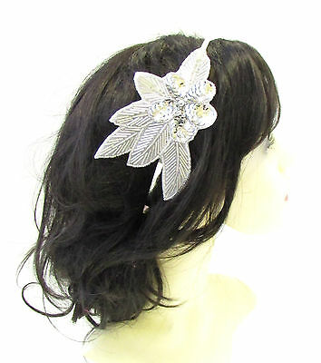 Silver Sequin Beaded Headband Fascinator Vintage 1920s Great Gatsby Flapper 879