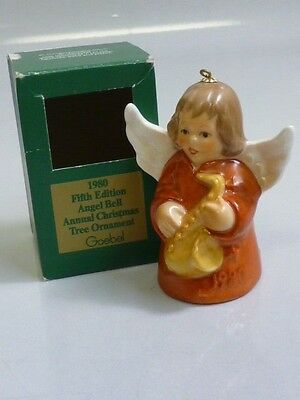 Goebel 1980 Annual Angel Bell Christmas Ornament ORANGE