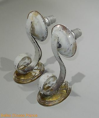 antique pair french sconces lamp art deco  brass and iron