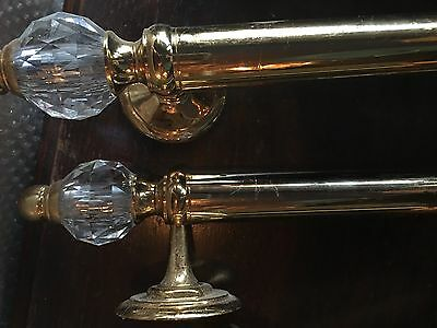 "Vintage Brass And Crystal Shower Handles. 17.5"" Long"