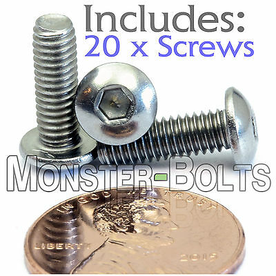 4mm x 0.70 x 12mm - Qty 20 - A2 Stainless Steel BUTTON HEAD Screws ISO 7380 M4