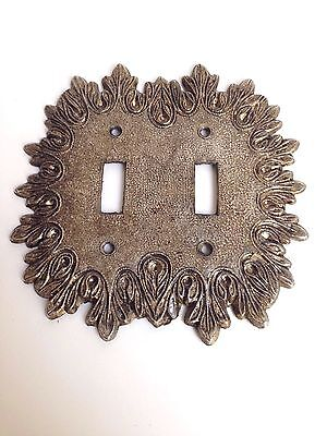 Vintage Ornate Double Light SwitchPlate Cover Solid Brass Gold Color Edge Detail