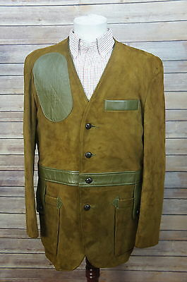 Vintage 10X Iowa Suede All-Leather Two-Tone Shooting Norfolk Hunting Jacket 40